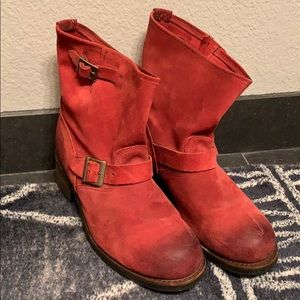 Local 1776 union made boots Vintage red suede 10